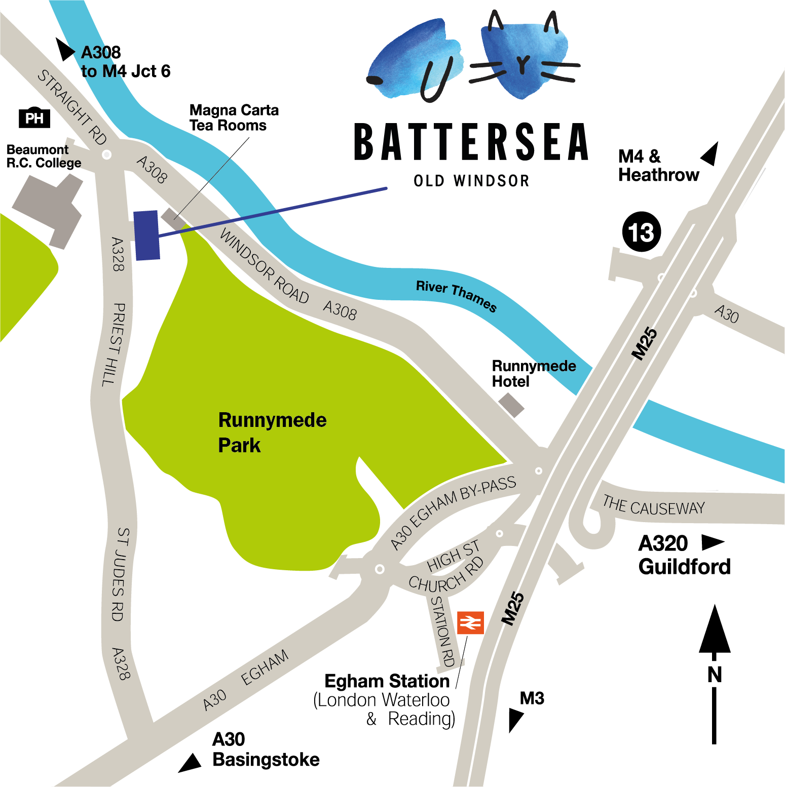 Map showing the location and how to access Battersea Old Windsor