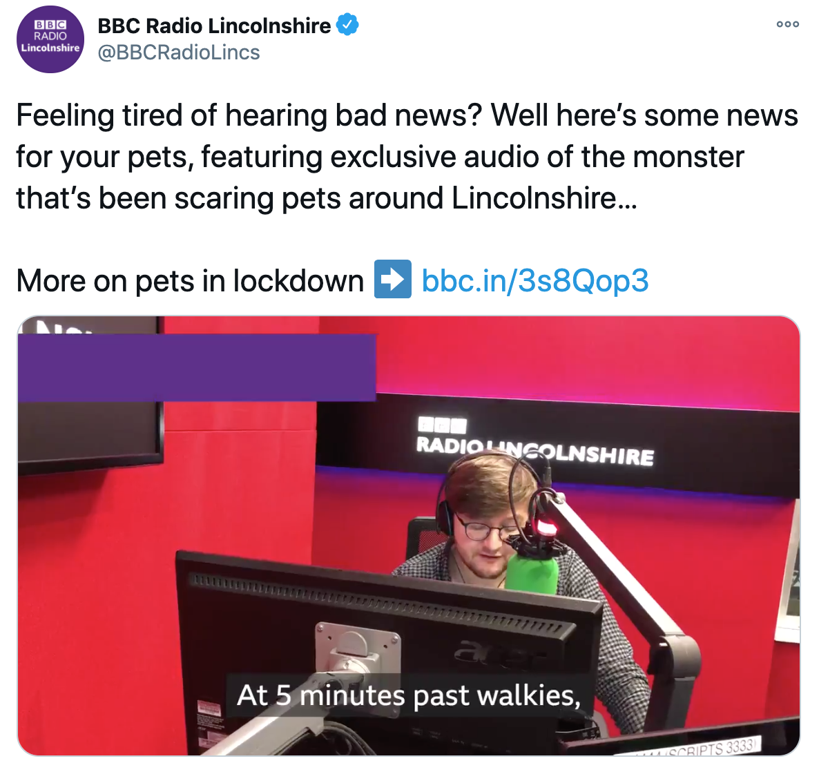 Screenshot of a tweet picturing the broadcast for pets