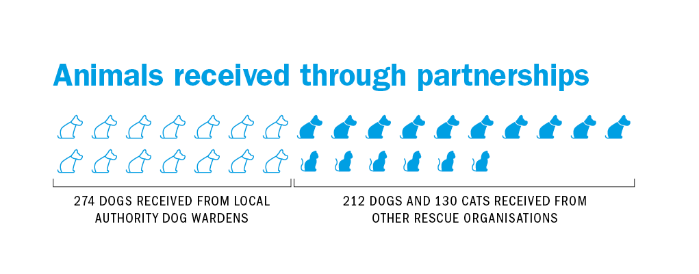 Animals received through partnerships, 274 DOGS RECEIVED FROM LOCAL AUTHORITY DOG WARDENS, 212 DOGS AND 130 CATS RECEIVED FROM OTHER RESCUE ORGANISATIONS