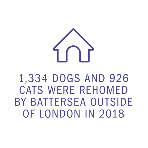 1,334 DOGS AND 926 CATS WERE REHOMED BY BATTERSEA OUTSIDE OF LONDON IN 2018