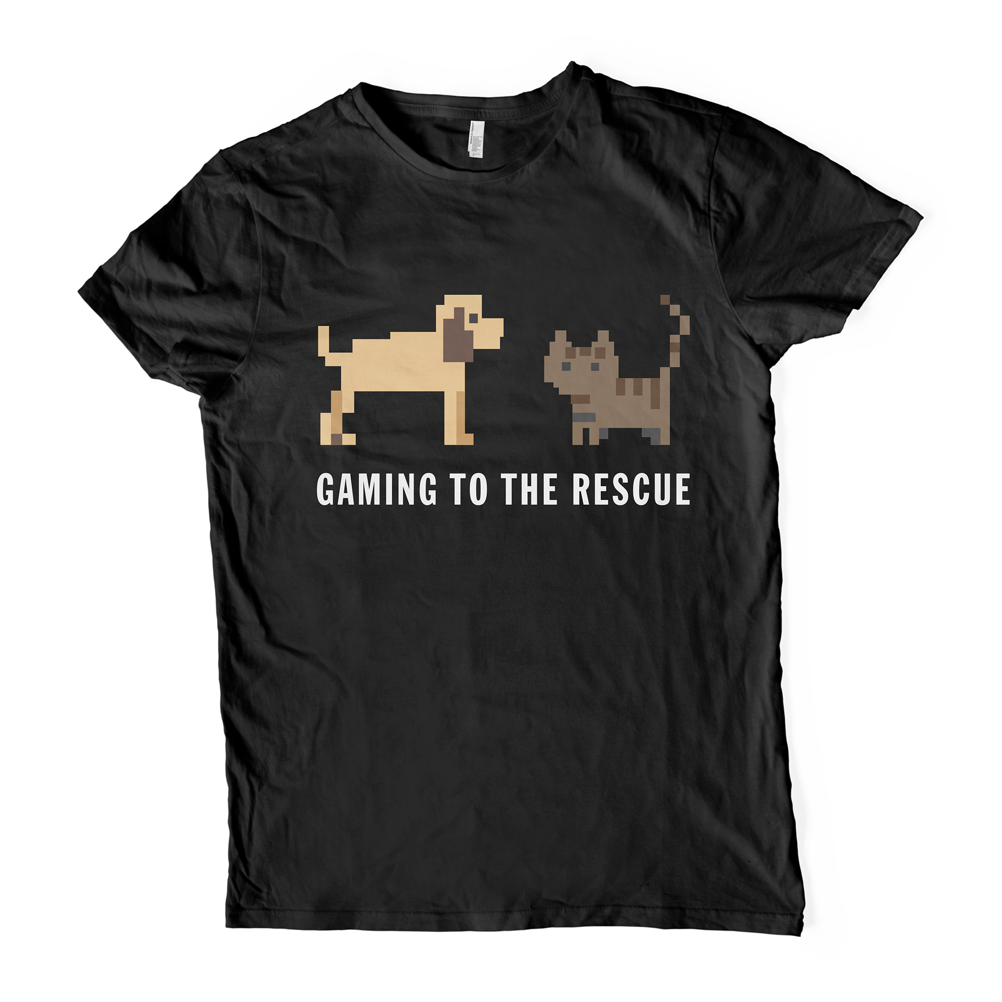 Gaming to the rescue branded t-shirt in black